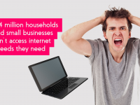 """Frustrated man pulling his hair beside a falling laptop. Next to the statistic that says, """"2.4 million UK households and small businesses can't access the internet speeds they need""""."""