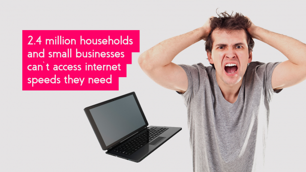 "Frustrated man pulling his hair beside a falling laptop. Next to the statistic that says, ""2.4 million UK households and small businesses can't access the internet speeds they need""."
